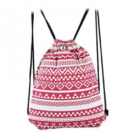 image of ETHNIC STRIPED GEOMETRIC PRINT ROPE CANVAS BACKPACK FOR WOMEN (RED) ???