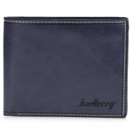 image of BAELLERRY TRANSVERSE WALLET LEATHER CREDIT CARD BIFOLD PURSE FOR MEN (BLUE) -