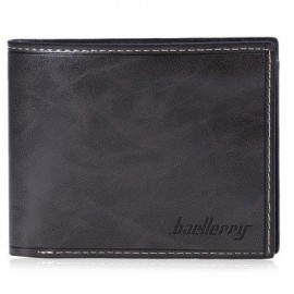 image of BAELLERRY TRANSVERSE WALLET LEATHER CREDIT CARD BIFOLD PURSE FOR MEN (GRAY) -