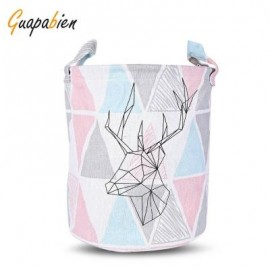 image of GUAPABIEN FOLDABLE WATER RESISTANT STORAGE LAUNDRY BASKET (PINK) TRIANGLE
