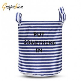 image of GUAPABIEN FOLDABLE WATER RESISTANT STORAGE LAUNDRY BASKET (BLUE) STRIPE