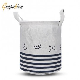 image of GUAPABIEN FOLDABLE WATER RESISTANT STORAGE LAUNDRY BASKET (WHITE) SAILBOAT