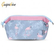 image of GUAPABIEN PORTABLE PRINT MAKEUP TRAVEL POUCH COSMETIC BAG (AZURE) LEAF
