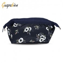 image of GUAPABIEN PORTABLE PRINT MAKEUP TRAVEL POUCH COSMETIC BAG (BLACK) FLOWER
