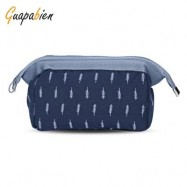 image of GUAPABIEN PORTABLE PRINT MAKEUP TRAVEL POUCH COSMETIC BAG (DEEP BLUE) LEAF