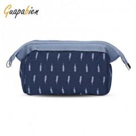 image of GUAPABIEN PORTABLE PRINT MAKEUP TRAVEL POUCH COSMETIC BAG (DEEP BLUE) LEAF