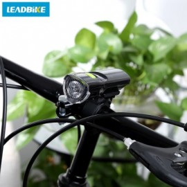 image of LEADBIKE OUTDOOR BICYCLE MTB WATER RESISTANT LED FRONT WARNING SAFETY LIGHT HEADLIGHT FLASHLIGHT (BLACK)