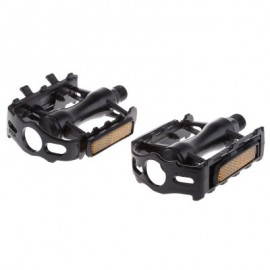 image of PAIRED ALUMINUM ALLOY FLAT BICYCLE PEDAL FOR MOUNTAIN ROAD BIKE BMX FIXED GEAR (BLACK)