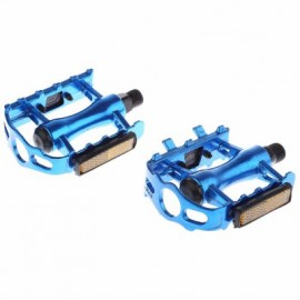 image of PAIRED ALUMINUM ALLOY FLAT BICYCLE PEDAL FOR MOUNTAIN ROAD BIKE BMX FIXED GEAR (BLUE)