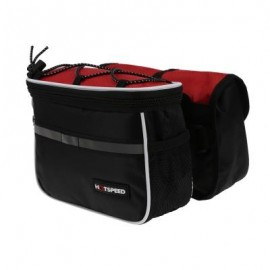 image of MOUNTAIN BIKE BICYCLE HANDLEBAR BAG FOLDING POUCH (RED)