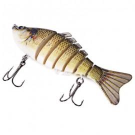 image of 3D EYES LIFELIKE FISHING LURE SWIMBAIT WITH TREBLE HOOKS 7 JOINTED SECTIONS (GRADUAL YELLOW) -