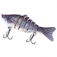 image of 3D EYES LIFELIKE FISHING LURE SWIMBAIT WITH TREBLE HOOKS 7 JOINTED SECTIONS (GUN METAL) -