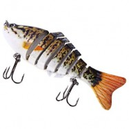 image of 3D EYES LIFELIKE FISHING LURE SWIMBAIT WITH TREBLE HOOKS 7 JOINTED SECTIONS (SPOT PATTERN) -