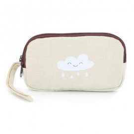image of UNISEX FRESH PORTABLE CLOUD SUN PRINT CARTOON CANVAS BUGGY BAG CHANGE PURSE CELL PHONE HOLDER WRIST WALLET (OFF-WHITE) 16 x 3 x 9 cm