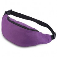 image of WATER RESISTANT FAKE SYNTHETIC RUBBER SHOULDER MESSENGER CHEST WAIST BAG FOR UNISEX (DEEP PURPLE) HORIZONTAL