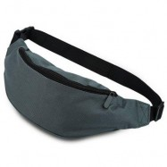 image of WATER RESISTANT FAKE SYNTHETIC RUBBER SHOULDER MESSENGER CHEST WAIST BAG FOR UNISEX (GRAY) HORIZONTAL