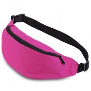 image of WATER RESISTANT FAKE SYNTHETIC RUBBER SHOULDER MESSENGER CHEST WAIST BAG FOR UNISEX (ROSE RED) HORIZONTAL