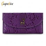 image of GUAPABIEN CROCODILE PRINT CLUTCH WALLET WOMEN CARD HOLDER (PURPLE) -