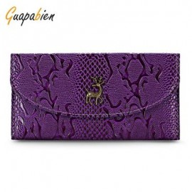 image of GUAPABIEN CROCODILE PRINT CLUTCH WALLET WOMEN CARD HOLDER (PURPLE) -