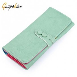 image of GUAPABIEN CANDY COLOR LETTER HOLLOW STRAP TWO SNAP FASTENERS VERTICAL WALLET FOR WOMEN (PEA GREEN) HORIZONTAL