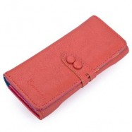 image of GUAPABIEN CANDY COLOR LETTER HOLLOW STRAP TWO SNAP FASTENERS VERTICAL WALLET FOR WOMEN (RED) HORIZONTAL