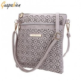 image of GUAPABIEN ETHNIC HOLLOW OUT LETTER EMBELLLISHMENT FLOWER PRINT EXTERNAL DUAL PURPOSES SHOULDER MESSENGER BAG FOR LADY VERTICAL