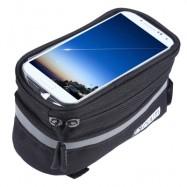 image of DUUTI TOUCHSCREEN BIKE PHONE CASE BICYCLE FRAME FRONT TUBE HANDLEBAR BAG PANNIERS (BLACK)