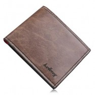 image of SOLID COLOR LETTER OPEN HORIZONTAL WALLET FOR MEN (DARK COFFEE) HORIZONTAL