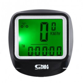 image of SUNDING SD - 568AE OUTDOOR MULTIFUNCTION WATER RESISTANT CYCLING ODOMETER SPEEDOMETER WITH LCD BACKLIGHT (BLACK)
