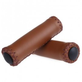image of 2PCS BIKE SOFT LEATHER HANDMADE HANDLEBAR GRIP BICYCLE ACCESSORIES (BROWN) 7.00 x 3.50 x 12.00 cm