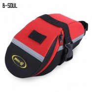 image of B - SOUL PORTABLE ADJUSTABLE QUAKEPROOF PADDED CYCLING SEAT TAIL BAG OUTDOOR BIKE POUCH (RED WITH BLACK)
