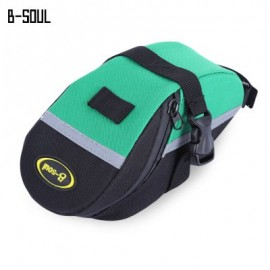 image of B - SOUL PORTABLE ADJUSTABLE QUAKEPROOF PADDED CYCLING SEAT TAIL BAG OUTDOOR BIKE POUCH (BLACK AND GREEN)