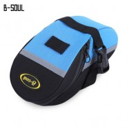 image of B - SOUL PORTABLE ADJUSTABLE QUAKEPROOF PADDED CYCLING SEAT TAIL BAG OUTDOOR BIKE POUCH (BLUE AND BLACK)