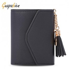 image of GUAPABIEN WOMEN FOLDABLE SHORT WALLET TASSEL CARD HOLDER (BLACK) -