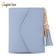 image of GUAPABIEN WOMEN FOLDABLE SHORT WALLET TASSEL CARD HOLDER (LIGHT BLUE) -