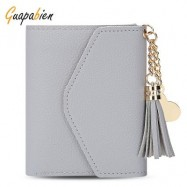 image of GUAPABIEN WOMEN FOLDABLE SHORT WALLET TASSEL CARD HOLDER (LIGHT GRAY) -