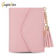 image of GUAPABIEN WOMEN FOLDABLE SHORT WALLET TASSEL CARD HOLDER (LIGHT PINK) -