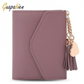 image of GUAPABIEN WOMEN FOLDABLE SHORT WALLET TASSEL CARD HOLDER (RUSSET-RED) -