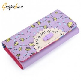 image of GUAPABIEN BOWKNOT FLORAL HASP VERTICAL LONG CLUTCH WALLET FOR LADY (VIOLET) VERTICAL