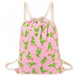 image of CUTE RETRO CANVAS DRAWSTRING BACKPACK 3D PRINTING GYM BEACH BAG SCHOOL BAG FITNESS TOTE SACK (PINK) -