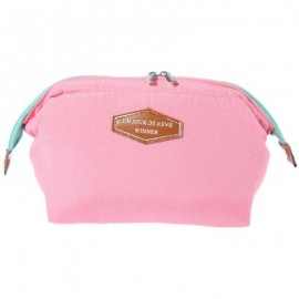 image of EXCLUSIVE PORTABLE MULTIFUCTIONAL STEEL FRAME TRAVEL COSMETIC BAG (PINK) 19.00 x 12.00 x 4.50 cm