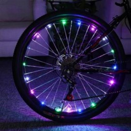image of BICYCLE CYCLING COLORFUL COOL 20 LEDS SAFETY SPOKE WHEEL LIGHT BIKE ACCESSORIES (COLORMIX)