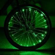image of BICYCLE CYCLING COLORFUL COOL 20 LEDS SAFETY SPOKE WHEEL LIGHT BIKE ACCESSORIES (GREEN)