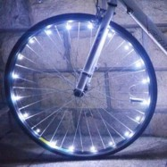 image of BICYCLE CYCLING COLORFUL COOL 20 LEDS SAFETY SPOKE WHEEL LIGHT BIKE ACCESSORIES (WHITE)