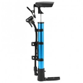 image of PORTABLE ALUMINUM BICYCLE BALL TIRE HAND AIR PUMP HIGH PRESSURE INFLATOR (BLUE)