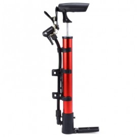 image of PORTABLE ALUMINUM BICYCLE BALL TIRE HAND AIR PUMP HIGH PRESSURE INFLATOR (RED)