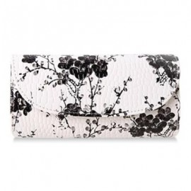 image of NATIONAL STYLE PU LEATHER AND FLORAL PRINT DESIGN WOMEN'S CLUTCH BAG -