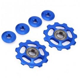 image of 2 X BIKE 11T ALUMINUM SEALED BEARING REAR DERAILLEUR PULLEYS JOCKEY WHEEL (BLUE)