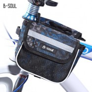 image of B - SOUL YA039 SADDLE TUBE BAG DOUBLE POUCH FOR BIKE TOP FRAME FRONT (GRAY)