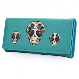 image of SKULL HEART PLANT RIVET LONG CLUTCH WALLET FOR LADY (BLUE) ??